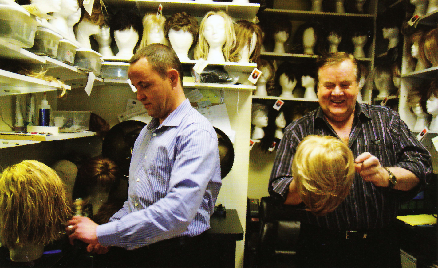 Picture: Hans Kalset (Left) and Eivind Bjerke in their wig studio.